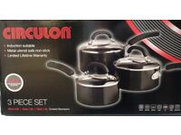 Brand New Circulon 3-Piece Pot Pan Cookware Set