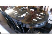 Chinese/Oriental/Japanese Mother Of Pearl Dining Table And 6 Chairs