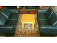 Set of 2 reception waiting room sofas and coffee table