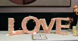 Wedding Table Decor 'Love' Letters (baby pink, floral)