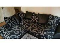 Zina Black Swirl Fabric Corner Sofa Left