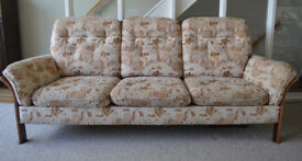 Vintage sofa, wooden frame with rattan effect sides and back