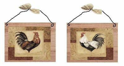 Rooster Pictures Brown Kitchen Wall Hangings Home Decor Plaques Roosters Hen