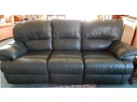 Leather sofa dark green recliner good condition Splits into 3 for transport Can accept credit cards