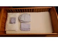 Babies 'R' Us adjustable cot bed, mattress and bedding