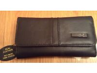 Large Black Leather Purse with 20 Slots for Cards NEW