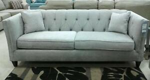 TUFTED SOFAS - CANADIAN MADE-LOVE SEAT-CHAIR ON SALE: (AD 160) - CAN MADE IN FABRIC/LEATHER/ AIR LEATHER/ BONED LEATHER