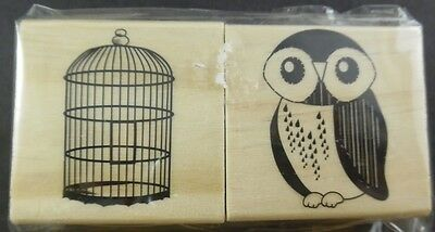 SONGS OF SPRING Owl & Birdcage 2 Rubber Stamp Set from Michaels NIP Sealed New