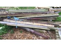 Quantity of 4x4 & 3x3 wooden timber fence posts