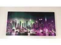 New York City Manhattan At Night Skyline' Cityscape Modern Canvas Deco