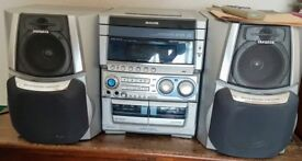 Aiwa Stereo System, fanatic sound, powered subwoofer, remote, manual, 25W + 25W