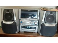Aiwa Stereo System, fanatic sound, powered subwoofer, remote, manual, 25W + 25W