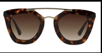 Authentic Prada PR 12QS 2AU6S1 Havana Cat Eye Sunglasses Brown Gradient Lens