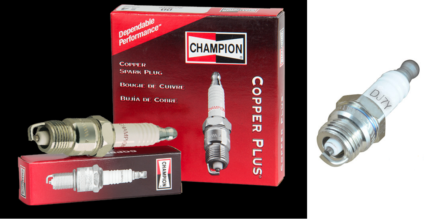 4 off DJ7Y Champion Spark Plugs, fit chainsaws and grass trimmers