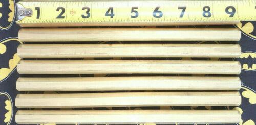 "(6 Pieces) 1/2"" Inch Hex 9"" Long C360 Brass Half Hard Hex Bar Mill Rod Stock"