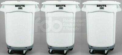 3 Pack Ingredient 32 Gallon White Storage Bin Trash Can Lid Dolly Commercial
