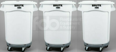 3 Brute Ingredient 32 Gallon White Bin Trash Can Lid Dolly Commercial Rubbermaid