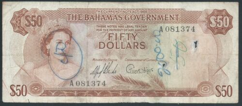 Bahamas $50 P24a 1965 Very Good and a very rare note!
