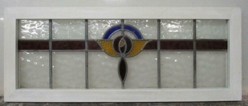 "OLD ENGLISH LEADED STAINED GLASS WINDOW TRANSOM Pretty Rose Design 34"" x 13.5"""