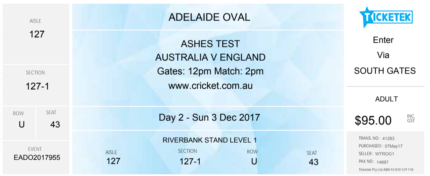 1 x Australia vs England Ashes Ticket Adelaide Oval Day 2