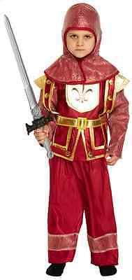 Jungen Roten Mittelalter Ritter Drachen Slayer Kostüm Kleid Outfit 4-12 Jahre