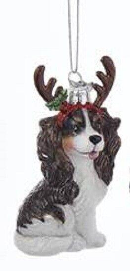 Glass Dog Ornament CAVALIER KING CHARLES TRI w/Antlers Dog Christmas Ornament
