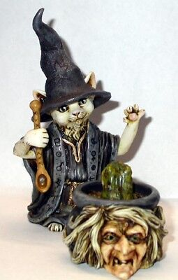 Harmony Kingdom Art Neil Eyre Designs Halloween Cat Witch Face Cauldron and frog - Halloween Cat Face Designs