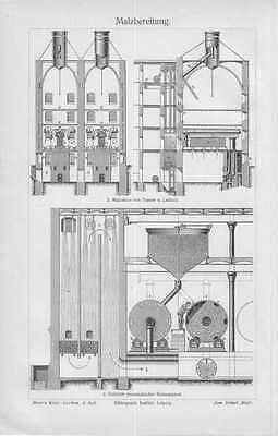 MALZBEREITUNG Mälzung Brauerei Bier Malz HOLZSTICH  von 1905 Brauer Mälzer