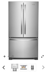 New French Door Whirlpool Refrigerator 25 cu.ft. Stainless Steel