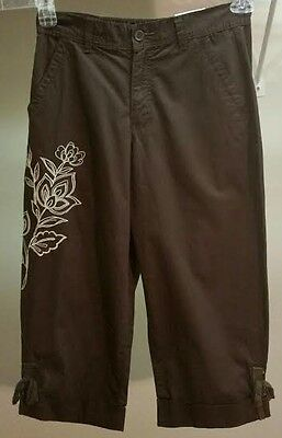 NWT Basic Editions Women's Brown Floral 100% Cotton Capri Pants Size: S