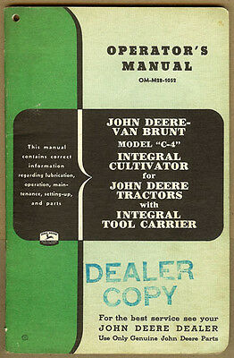 Original John Deere Van Brunt C-4 Integral Cultivator Jd Tractor Dealer Manual