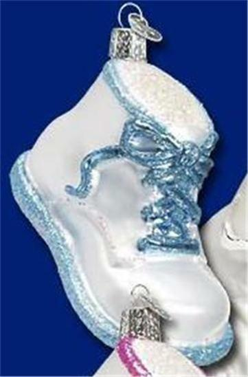 BLUE BABY SHOE OLD WORLD CHRISTMAS GLASS INFANT BABY THEME ORNAMENT NWT 32051