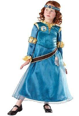 Mädchen Offiziell Disney Deluxe Tapferen Merida Prinzessin Kostüm Kleid - Prinzessin Tapferen Kostüm