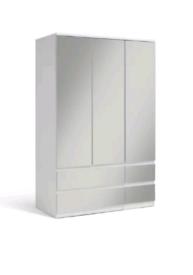 £205 Habitat Jenson Gloss 3 Dr 4 Drw Mirrored Wardrobe - White New an