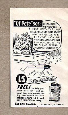 1957 Vintage Ad L&S Bassmaster Fishing Lures Bait Co Bradley,IL