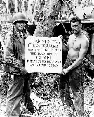 Marines Show Appreciation To Coast Guard In Guam 8 X 10  World War Ii Photo  156