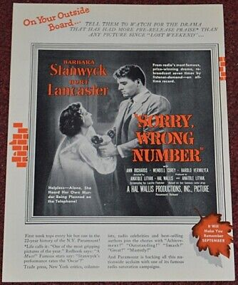 SORRY, WRONG NUMBER 1948 ORIGINAL 9x12 TRADE AD BARBARA STANWYCK FILM NOIR  - $8.49