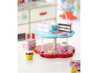 Wooden Cake Stand and Cakes With 10 Pieces Pretend Toys Children Christmas