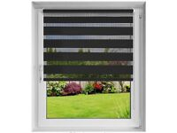 2xBlack DESWIN Day and Night Roller Blinds - W90 x L160 cm
