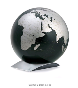 New CAPITAL Q WORLD GLOBE 30CM (BLACK & SILVER) Kyneton Macedon Ranges Preview