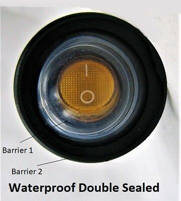 New Double Sealed Yellow Led Waterproof Rocker 12v Toggle Switch Spst Round Ip66