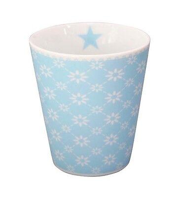 Becher MUG Diagonal baby blue blau weiss Blümchen HM157 Krasilnikoff  Blau Weiß Mugs