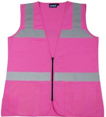 Pink Safety Vest Ladies Contour Fitted Hi-visibility Size Small Free Ship