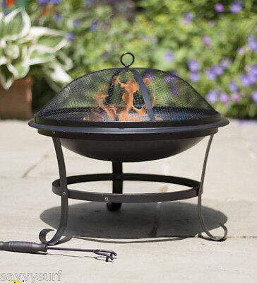 Steel Firepit Fire Bowl Chimenea Garden Incinerator Patio Heater Mesh Brazier