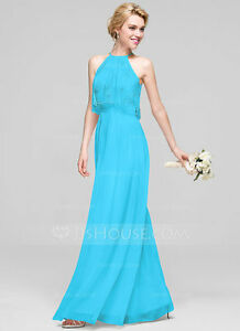 Beautiful Floor-Length Chiffon A-Line Dress in Pool Color