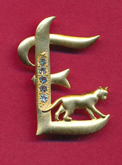 CAT INITIAL *E* GOLD TONE BROOCH W/ CRYSTALS JONETTE!