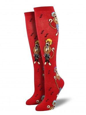 Socksmith Halloween Punk Sock Monkey Women's Knee High Size 6 - 10 - Red