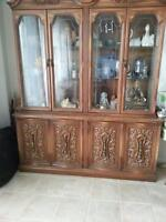 Display Cabinet-Glass Doors W/Built In Light-Lots Of Storage