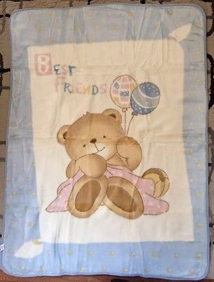 Korean Mink Baby Child Blanket - Teddy Bear - Blue - Premium Quality - Stellamor