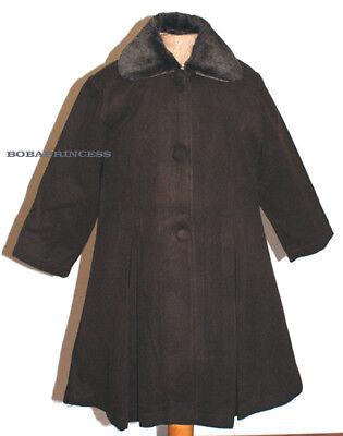 Girl Dress Coat (NEW Girl Long Dress Coat w/Faux Fur Trim Color Brown Sz 6/8/10/12)